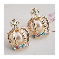 Stud artificial pearl earrings - 2013 New Trendy Crown Cross Chaped Stud Earring with Colorful Crystal Artificial Pearl for Women Ladies