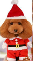 Wholesale new cosplay d model fashion Christmas Santa Claus S L dog pet set clothes with hat for Christmas Halloween party
