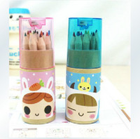 Wholesale New cute12 box Wooden colored Pencil with Kraft paper box and Pencil sharpener