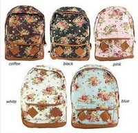 bead embroidery books - Popular Women girl lady Fashion Vintage Cute Flower School Book Campus Bag Backpack the Knapsack Rucksack