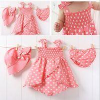 Girl Summer Sleeveless children's dot skirt + briefs + hat tutu baby girl's dress skirt suit kids wear kids clothing free shipping
