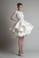 A-Line short wedding dresses - Krikor Jabotian Organza Ruffle Short Casual Wedding Dresses Bateau Beach Modest Bridal Gown