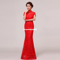Wholesale 2014 new bride wedding toast improved fashion cheongsam red hollow Long Slim fishtail dress shoulder bag