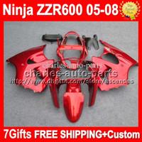 7gifts+ Custom body For KAWASAKI NINJA all gloss red ZZR600 Z...