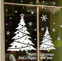 Wholesale New Year Christmas snowflake Christmas tree wall stickers shop window stickers decorative glass door stickers decorations props removable
