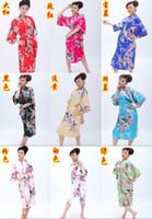 Wholesale 10pcs Women s Silk Robe Pajamas Nightgown Sleepwear peafowl with obi Mixed Order