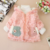 Wholesale Christmas sale winter girls coat the baby does not fall down gloves hooded coat pocket