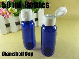 Wholesale 50ml clamshell bottle blue bottle make up container small empty bottles