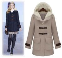achat en gros de manteau d'hiver de femme gris-High Quality Catwalk Shows Vêtements Femmes Winter Woolen Coat épaissie Inspissate Doublure Vêtements Col de laine Fit et Flare Grey Deep Blue