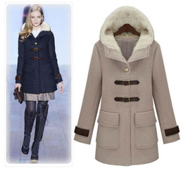 Wholesale High Quality Catwalk Shows Apparel Women Winter Woolen Coat Thickened Inspissate Lining Clothes Woolen Collar Fit and Flare Gray Deep Blue