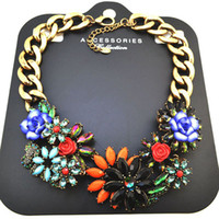 Wholesale New Design Luxury Rainbow Choker Jewelry Big Chunky Chain Blue Flower Vintage Bib Collar Statement Necklace For Women