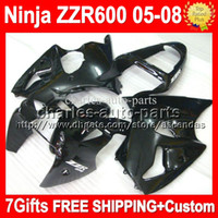 Custom+ 7gifts For KAWASAKI NINJA all black ZZR600 ZZR 600 63...