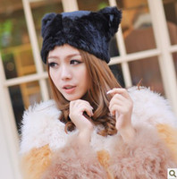 Wholesale Hot Sale Women Winter Knitted Fur Hat LOVELY BEANIES HAT Fur Cap CAT EARS HAT