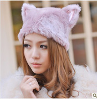 Wholesale Fashion New Women Winter Knitted Fur Hat LOVELY BEANIES HAT Fur Cap CAT EARS HAT
