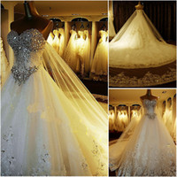 Wholesale 2013 crystals Fashion New Luxury bride Sweetheart Applique Bead cathedral train wedding bridal gown dresses DH6743