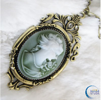 Wholesale STOCK Vintage Bronze Crystal Flowers Cameo Pendant Long Necklaces Victoria Queen Goddess Necklace S XL199
