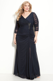 Wholesale Stunning Hot Sale Plus Size Pleats Beaded A Line V Neck Long Sleeves Zipper Chiffon Floor Length Party Prom Dresses Evening Gown