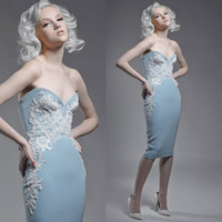Wholesale 2014 Paolo Sebastian Sheath Beaded Embroidery Taffeta Cocktail Dresses in Light Sky Blue with Sexy V Neck and Knee Length Dhyz