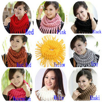 Wholesale MIC Fashion Girl Womens Winter Knit Infinity Circle Scarf Wrap Scarves Tassels cm