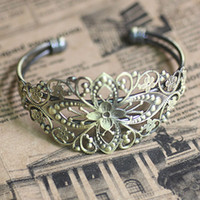 Wholesale Min Order10pcs ANTIQUE BRONZE Filigree Adjustable Cuff Bangle and Bracelets Blank base DIY Findings for Jewelry Making
