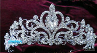 Other Type Rhinestone/Crystal  Wholesale - Shining Wedding Bridal Crystal Veil Tiara Crown Headband