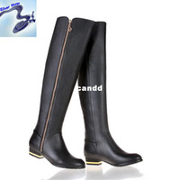 Wholesale riding boots high heeled boots Full Grain leather cow leather boot tall canister boots women s steel toe boots Size