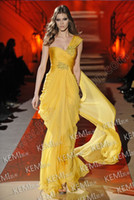 Reference Images One-Shoulder Chiffon Romance One Shoulder Beaded Crystal Ruffle Chiffon Gold Elie Saab Evening Dresses Celebrity Dress Pageant Prom Gowns