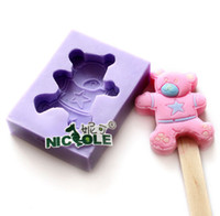 Wholesale Nicole M0018 Bear Silicone Rubber Ice Lolly Mold Mould Food Grade Silicone Baby Polymer Clay Mold Singapo Post