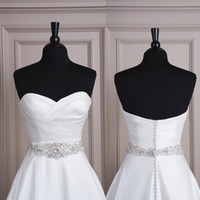 Wholesale 2014 Handmade Satin Crystal Beaded Bridal Wedding Dress Sashes Belts Wedding Accessories