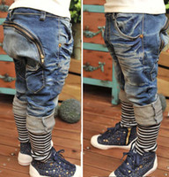 Unisex blue jeans - Children Casual Pants Fashion Jeans Kids Clothing Harem Pants Denim Trouser Blue Jeans Long Trousers Boy And Girl Stripe Jeans Child Clothes