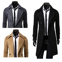 Wholesale Mens Trench Coat Slim Winter Warm Long Jackets Outwear Double Breasted Overcoat