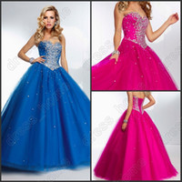 Wholesale Fashionable Ball Gown Sweetheart Floor Length Organza Prom Dresses Beads Sequins Sexy Evening Dreses New Ball Dresses Quinceanera Dresses