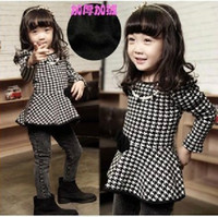 Wholesale girls fleece dresses children houndstooth long sleeve one piece kids winter clothing garment lcagmy