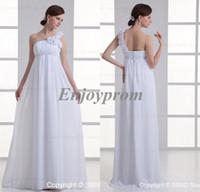 Wholesale 2014 Hot Sale Cheap White Chiffon One Shoulder Hand Made Flowers Greek Pleats Floor Length Maternity Empire Bridesmaid Wedding Dresses