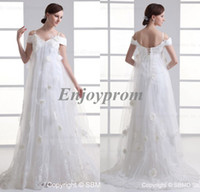 Wholesale New Designed Cheap White Tulle Off Shoulder Hand Made Flowers Appliques Lace up Exquisite Maternity Empire Wedding Dresses