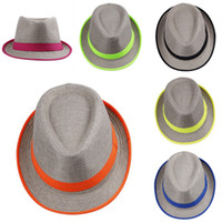 Wholesale Fashion Women Men Neon Striped Straw Caps Solid Dress Hats Stylish Spring Summer Beach Sun Hat Colors Choose DHV