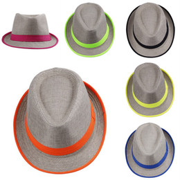 Wholesale Fashion Straw Panama Fedora Caps Solid Dress Hats Stylish Spring Summer Beach Sun Hat Colors Choose DHV