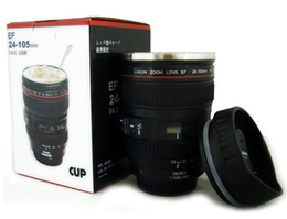 Wholesale Hot Generation stainless steel liner travel thermal Coffee camera lens mug cup ML Black by Fedex