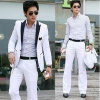 Wholesale New Stylish Men s Casual Slim Fit One Button Suit Pop Blazer Coat Jacket White