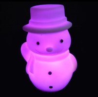 Wholesale New Hot Snowman Colorful Night Light Christmas Best Gift Automatic Light Lamp Atmosphere lamp For Christmas Wedding Birthday Presents