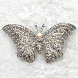 Wholesale Crystal Rhinestones Butterfly Brooches Fashion Costume Pin Brooch jewelry gift C2000