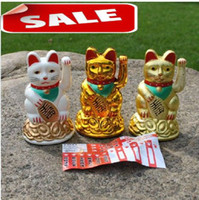 Wholesale Newest Maneki Neko Lucky cat Chinese Feng Shui Waving Wealth Fortune Cat Waving hand Cat animal cats cartoon store home decoration Christmas