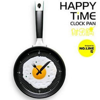 Wholesale Kitchen fun Wall clock shape FRYING PAN for egg etc Novel creative funny fried eggs pan Mixed color Choice fashion kitchen tool Classic