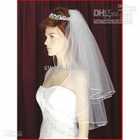 Wholesale Hot Selling In Stock Two Layer White Ivory Wedding Bridal Veils Pearls Ribbon Edge Comb Veil JA666