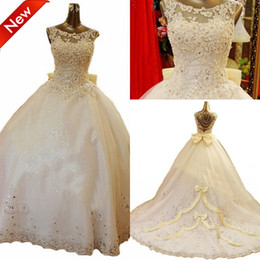Wholesale 2014 Graceful Crew Beads Crystal Lace Applique Organza Cathedral Train Ball Gown Wedding Dresses