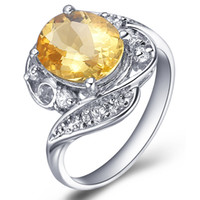Band Rings Natural crystal / semi-precious stones Citrine Flammable volcano jewelry 925 sterling silver natural citrine ring silver female Korean couple female ring SR0192C