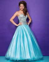 Reference Images Sweetheart Tulle Aqua Nude Sweetheart Prom Dresses A Line Tulle Lace Up Full Length Crystal Beading Beaded Sequin Ruffle Evening Gowns Alexia 5238