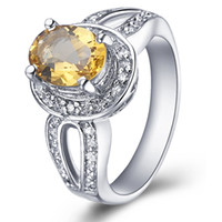 Band Rings Natural crystal / semi-precious stones Citrine Flammable volcano jewelry 925 Silver Natural Citrine Ring female Korean couple sent sterling silver jewelry women ring