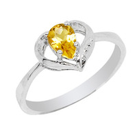 Band Rings Natural crystal / semi-precious stones Citrine Flammable volcano jewelry silver jewelry natural citrine ring female Korean couple SR0128C