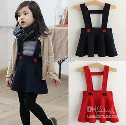 Fashion baby girl woolen cloth braces skirt dress dresses children s